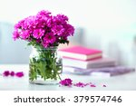 beautiful flowers in vase on... | Shutterstock . vector #379574746