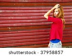 pretty woman and red background   Shutterstock . vector #37958857