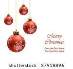 red christmas balls over white... | Shutterstock . vector #37958896