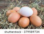 Fresh Eggs On Wood Vintage...