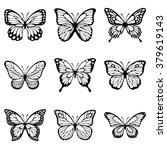 Set Of Butterflies Silhouette