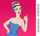 pop art beautiful woman... | Shutterstock .eps vector #379629256