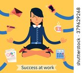 businesswoman in yoga pose... | Shutterstock .eps vector #379629268