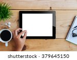 hand using mockup tablet... | Shutterstock . vector #379645150