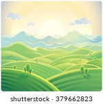 sunrise over the mountains and... | Shutterstock .eps vector #379662823