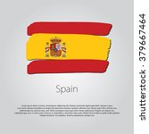 spain flag with colored hand... | Shutterstock .eps vector #379667464