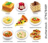 italian food icons detailed... | Shutterstock .eps vector #379678489