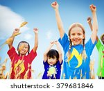 kids diverse playing sky field... | Shutterstock . vector #379681846