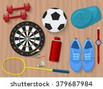 Sports Equipment On Wooden...