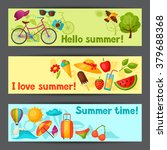 banners with stylized summer