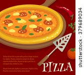 pizza poster   menu layout... | Shutterstock .eps vector #379689034