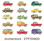 set of vintage cars  vector... | Shutterstock .eps vector #379704820