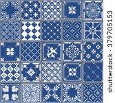 indigo blue tiles floor...   Shutterstock . vector #379705153