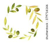 round wreath with watercolor... | Shutterstock . vector #379716166