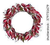 round wreath with branches and... | Shutterstock .eps vector #379731679