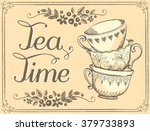 illustration tea time with cute ... | Shutterstock .eps vector #379733893