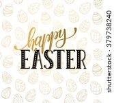 Happy Easter Wording On Golden...
