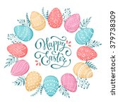 easter wreath with easter eggs... | Shutterstock .eps vector #379738309