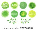 Set Of Watercolor Green Logo...