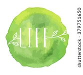 watercolor green logo with... | Shutterstock .eps vector #379751650