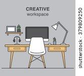 modern creative workspace... | Shutterstock .eps vector #379809250