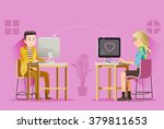 two teenagers were love on chat ... | Shutterstock .eps vector #379811653