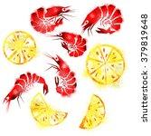 vector watercolor set shrimp...   Shutterstock .eps vector #379819648