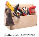 wooden box with a carpenter's... | Shutterstock . vector #379820206