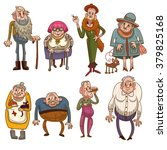 funny old people. eight cartoon ... | Shutterstock .eps vector #379825168