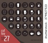 27 white linear coffee... | Shutterstock .eps vector #379827523