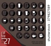 27 white linear coffee... | Shutterstock .eps vector #379827589