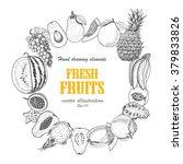vector round frame of fruits.... | Shutterstock .eps vector #379833826