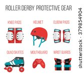 vector set of roller derby... | Shutterstock .eps vector #379854904