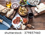 sharing authentic spanish tapas ... | Shutterstock . vector #379857460