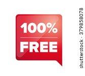 100 pecent free label red | Shutterstock .eps vector #379858078
