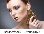 portrait of a cute woman with... | Shutterstock . vector #379861360