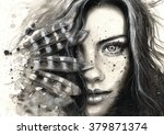 Black And White Watercolor Han...