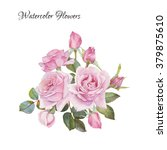 Stock photo floral card bouquet of watercolor roses illustration 379875610