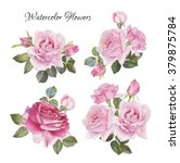 Stock photo bouquet of roses flowers set of hand drawn watercolor roses 379875784