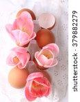 spring easter decoration tulips ... | Shutterstock . vector #379882279