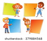 pupils pointing at a poster.... | Shutterstock .eps vector #379884568