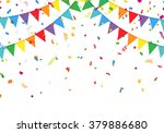 party flags with confetti | Shutterstock .eps vector #379886680