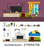 living room interior line... | Shutterstock .eps vector #379894738
