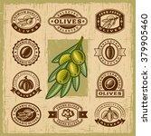 vintage olive stamps set.... | Shutterstock .eps vector #379905460