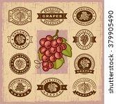 vintage grapes stamps set.... | Shutterstock .eps vector #379905490