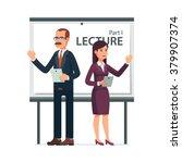 modern business teachers giving ... | Shutterstock .eps vector #379907374