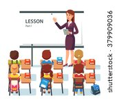 modern school lesson. little... | Shutterstock .eps vector #379909036
