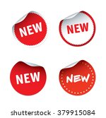 set of red vector stickers and... | Shutterstock .eps vector #379915084