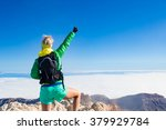 woman hiking success with arms... | Shutterstock . vector #379929784