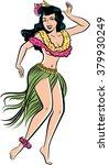 retro pop art hawaiian hula... | Shutterstock .eps vector #379930249